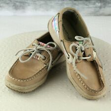 Sperry Top-Sider Bluefish Pink Plaid Tan Leather Boat Shoes - Girls 1 - EUC!