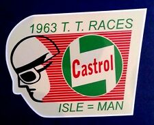 ISLE OF MAN T. T. RACES 1963 Vinyl Decal Sticker VESPA LAMBRETTA CASTROL