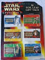 VTG Star Wars Episode 1 Foil Leaf Gift Tags 30 Tags