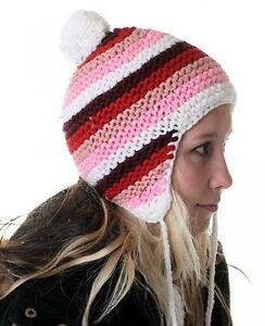 Damen Girly Winter Strick Mütze Kappe gestreift Bommel ringel NEU rot rosa bunt