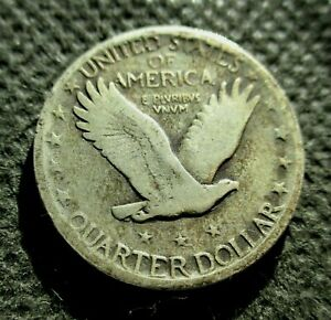 """OLD SILVER 1929 USA 1/4 DOLLAR """"STANDING LIBERTY QUARTER"""" AMERICAN EAGLE"""