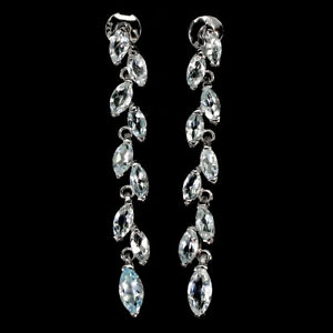 Unheated Marquise Aquamarine 8x4mm White Gold Plate 925 Sterling Silver Earrings