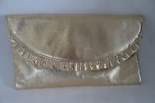 JANE SHILTON GOLD LEATHER  CLUTCH BAG  HANDBAG FRILL