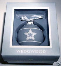 Wedgwood Star Relief Christmas Ball Ornament Blue & White New