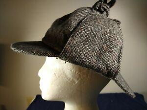 Sherlock Holmes Deerstalker Cap Tweed Herringbone Country Check Wool Blend Hats