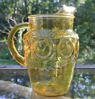 Vintage Honey Gold Glass Coin Spot Retro Depression Glass Pitcher