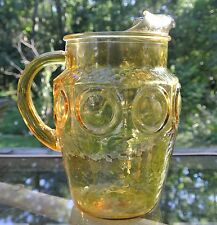 Vintage Honey Gold Glass Coin Spot Retro Depression Glass Pitcher