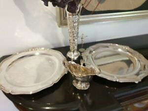 1820g STERLING SET OF 2 XIX PIAULT  ROUND TRAYS SERVERS