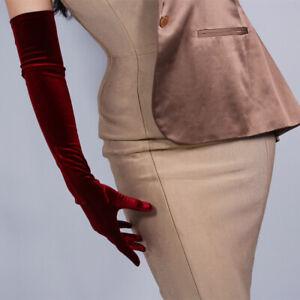 Velvet Gloves Opera Elbow Long Stretchy Dark Red Burgendy Oxblood Touchscreen