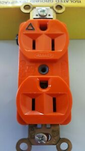 Hubbell IG-5262 Orange ISOLATED GROUND Duplex Receptacle Outlet 15A 125V, NEW!!!