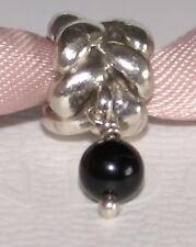 Genuine Pandora Sterling Silver Braid Black Onyx Dangle Charm