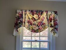 Vintage Floral Fabric Window Swags, Set Of Four Plus Pillow Covers