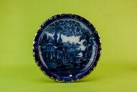 1900 Flow Blue Plate Serving Dish Cheese Platter Night Landscape Victorian