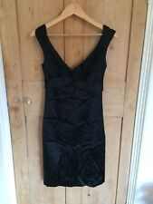 Mango Black Satin Pencil Dress Size 8 50's/Wiggle