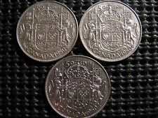 1950 Canada Silver, Georges VI, 50 cent(Halves), set of 3 known varieties