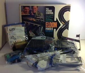VTG 1964 Eldon Power 8 Road Race Set #9517 w/Box & Power Pack Incomplete