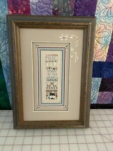 """Shepherd's Bush Completed and Framed """"Sheep in the Meadow"""" Sampler w/SB Mat"""