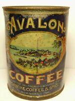Old Vintage 1930s AVALON COFFEE GRAPHIC COFFEE TIN ONE POUND ROANOKE VIRGINIA VA