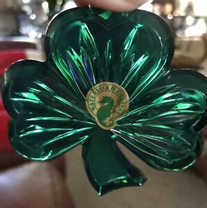 Green Waterford Crystal Three Leaf Clover Irish Shamrock Christmas Ornament NIB