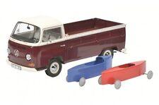 VW Bulli Bus T2 a Pritsche + 2 Seifenkisten dark red rot creme Schuco 1:18 NEU