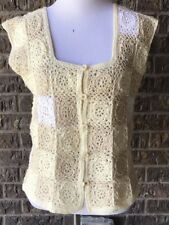 Retro Crochet Granny Square Button Vest Cream White Boho Hippie Festival