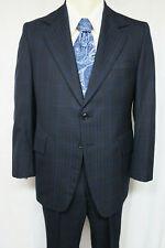 GGG CLOTHES Vintage 70s  Suit Navy Plaid 40 S