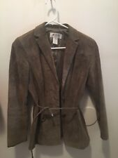 Alfani Ladies Brown Leather Suede jacket Petite Small Button Up Womens PS coat