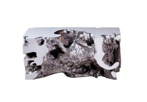 """36"""" Long Bench Resin White Silver Leaf Small Unusual Free Form 146"""