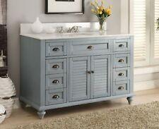 49 Inches Bathroom Sink Vanity, Vantige Blue Glennville - Quartz Countertop