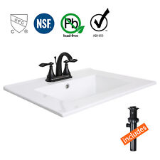 "24"" White Rectangle Ceramic Sink 3 Hole Bathroom Faucet Bronze W/ Drain Brass"