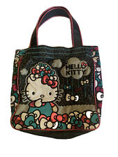 LOUNGEFLY SANRIO HELLO KITTY METALLIC BOWS FAUX LEATHER CANVAS SHOULDER TOTE BAG