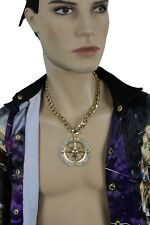 Men Fashion Jewelry Necklace Gold Metal Chains Compass Big Bling Pendant Hip Hop