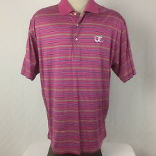 Fairway & Greene Mens Polo Shirt Pink Striped Short Sleeves Cotton Size Medium