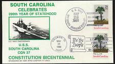 USS South Carolina Dual Cancel FDC Cachet Cover Unaddr Navy + FDC  Lot 1045