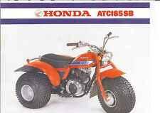 1981 HONDA ATC 185SB 2 Page ATV Motorcycle Brochure NCS