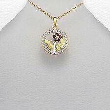 "Vermeil pendant with garnet stones, .925, 17"" ,sterling silver"