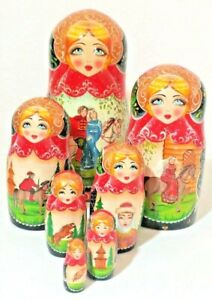 """Russian Matryoshka Nesting Dolls 7 PC Signed Medieval Times Lord Lady 9"""" Vintage"""