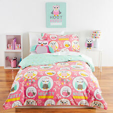 TARGET NIGHTY OWL OWLS, FLOWERS & HEARTS QUILT COVER SET DOUBLE NEW