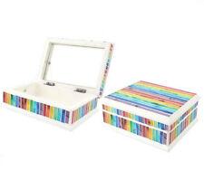 Rainbow Stripe Mosaic Decorative Jewellery Storage Trinket Box - Brand New