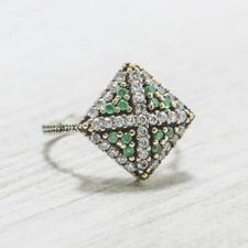 Deco 1.22ctw Emerald & White Sapphire Sterling Silver with Gold Accents Ring