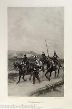E. DETAILLE,photogravure Goupil, PARLEMENTAIRES, militaires,chevaux,estampe