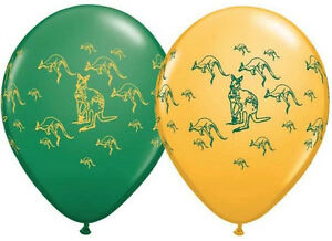 "AUSTRALIA DAY BALLOONS 10 x 11"" KANGAROO-A-ROUND GREEN & GOLD QUALATEX BALLOONS"