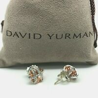 David Yurman Sterling Silver Cable Wrap Earrings Morganite and Pavé Diamonds
