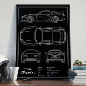 Toyota Supra MKIV Twin Turbo Blueprint Poster 17x24 inch size