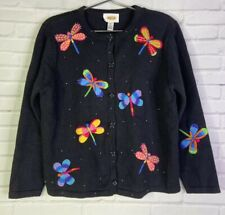 Talbots Petites Womens M Butterfly Embroidered Beaded Cardigan Button Up Sweater