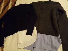 J Crew Layered Sweaters Lot Of 2 Womens Small Gray Navy