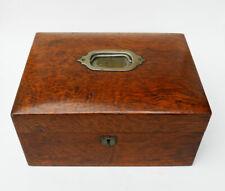 More details for good quality antique burr walnut sewing box dated 1895 original interior