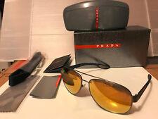 NEW Prada Sport LINEA ROSSA PS55QS DG15N0 Gunmetal Rubber / 24K Gold Mirror Lens