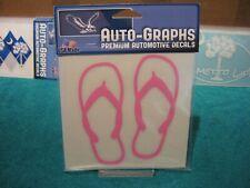 """Auto Graphs Flip Flops 5"""" Window Decals Pink Surface Mount Sticker"""