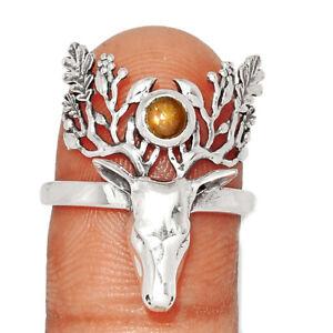 Deer Face - Rainbow Sunstone - Madagascar 925 Silver Ring s.8 BR13531